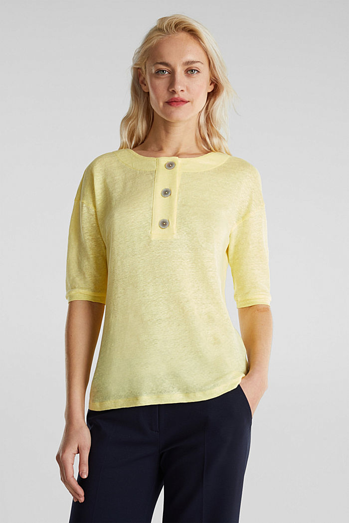 100% linen: top with buttons, LIME YELLOW, detail image number 0