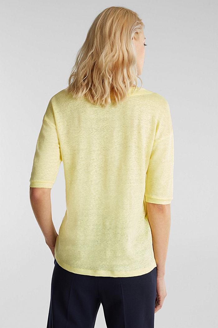 100% Leinen: Shirt mit Knöpfen, LIME YELLOW, detail image number 3