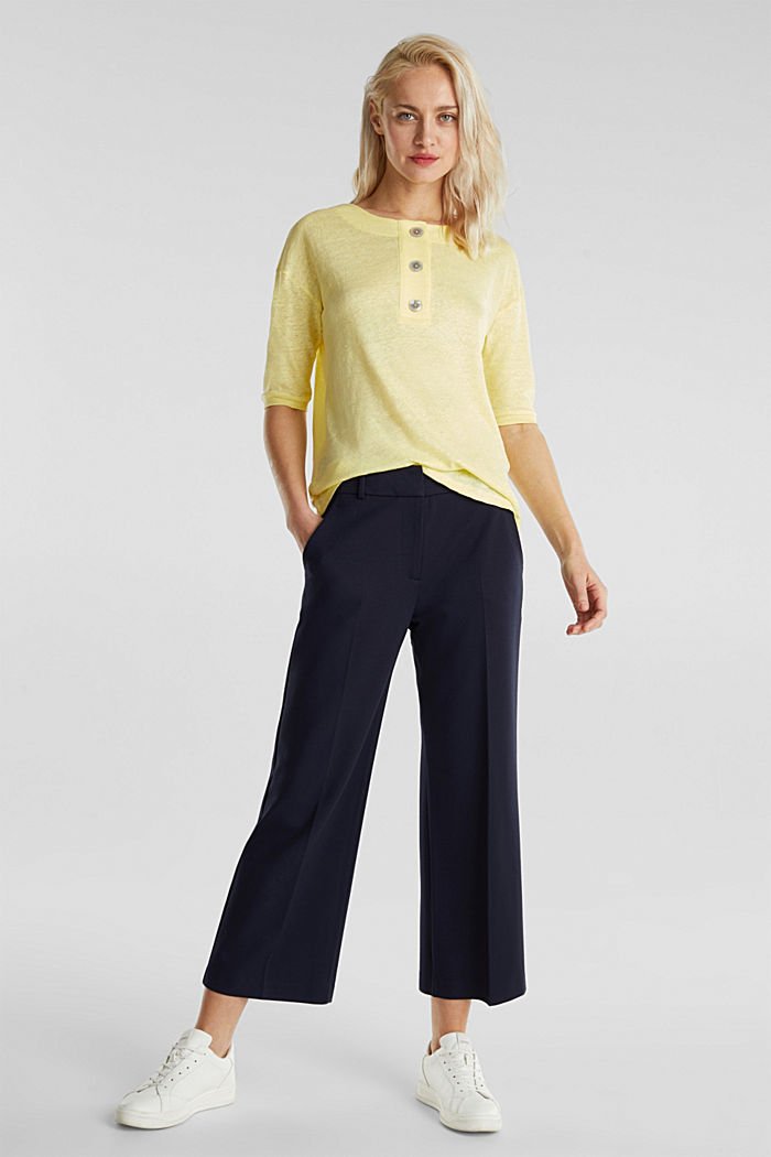 100% linen: top with buttons, LIME YELLOW, detail image number 4