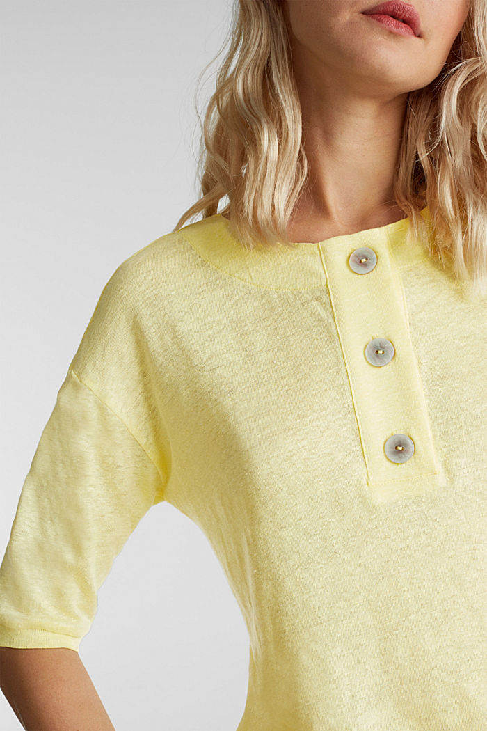 100% linen: top with buttons, LIME YELLOW, detail image number 2