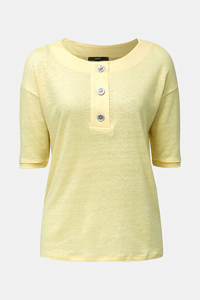 100% linen: top with buttons, LIME YELLOW, detail image number 5