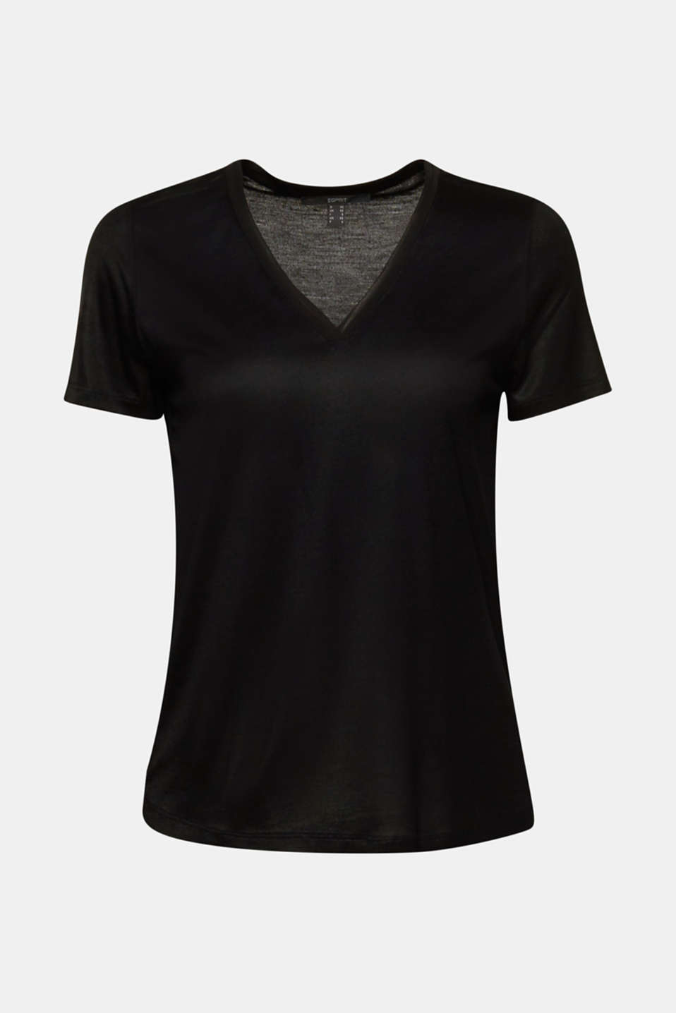 V-neck top with chiffon trims, BLACK, detail image number 5