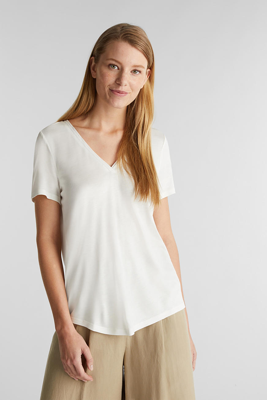 T-shirt con scollo a V e bordi in chiffon