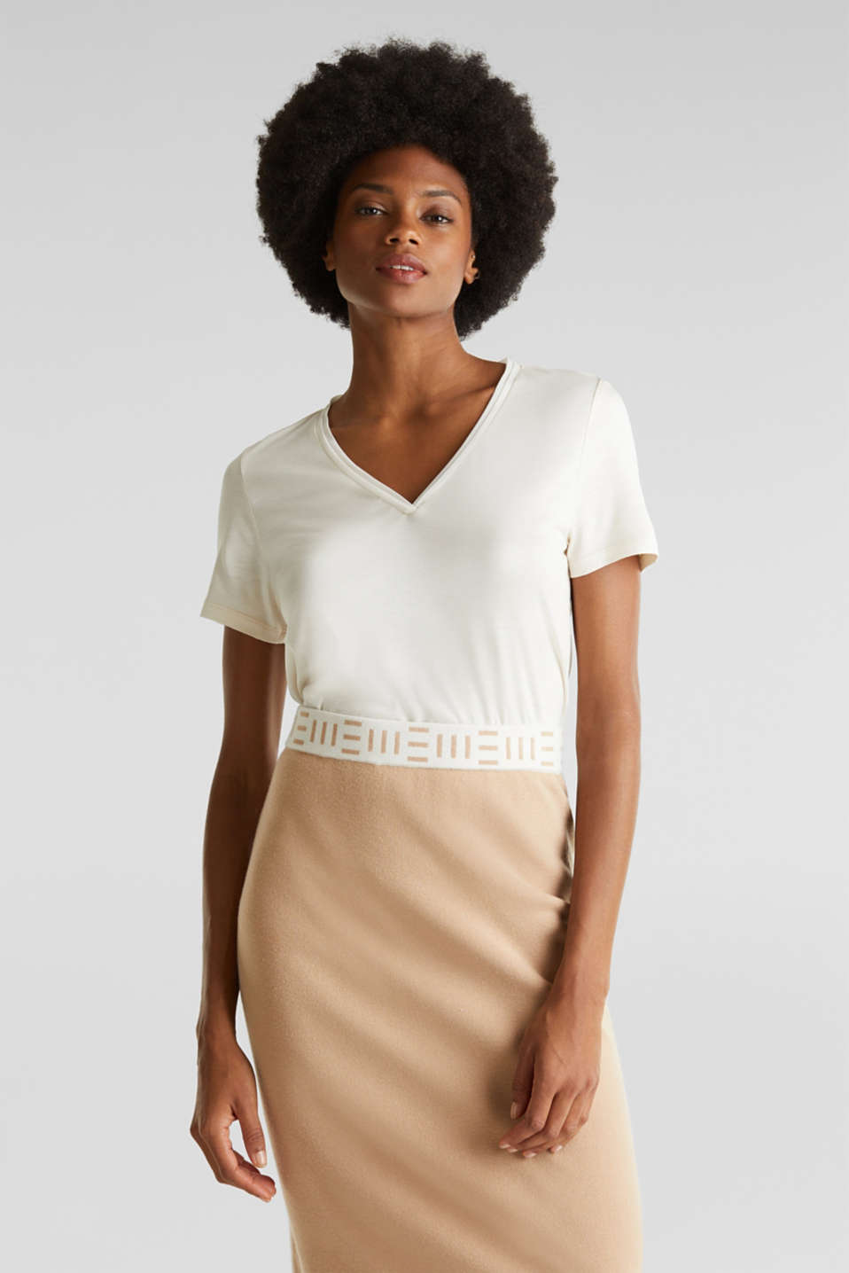 V-neck top with chiffon trims, SAND, detail image number 0