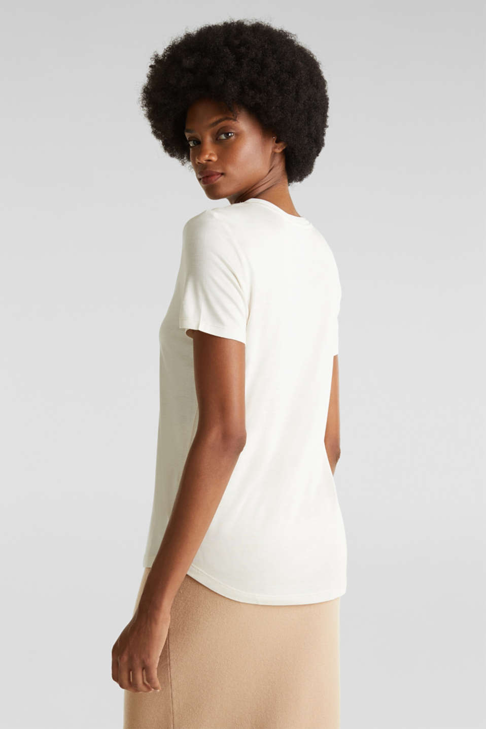 V-neck top with chiffon trims, SAND, detail image number 3