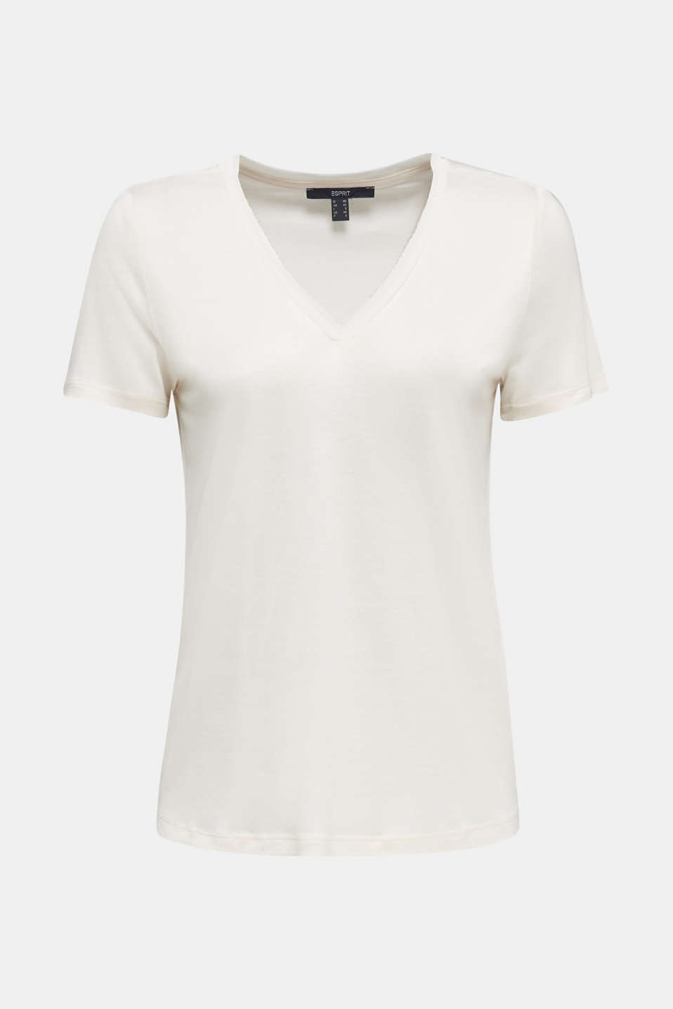 V-neck top with chiffon trims, SAND, detail image number 6