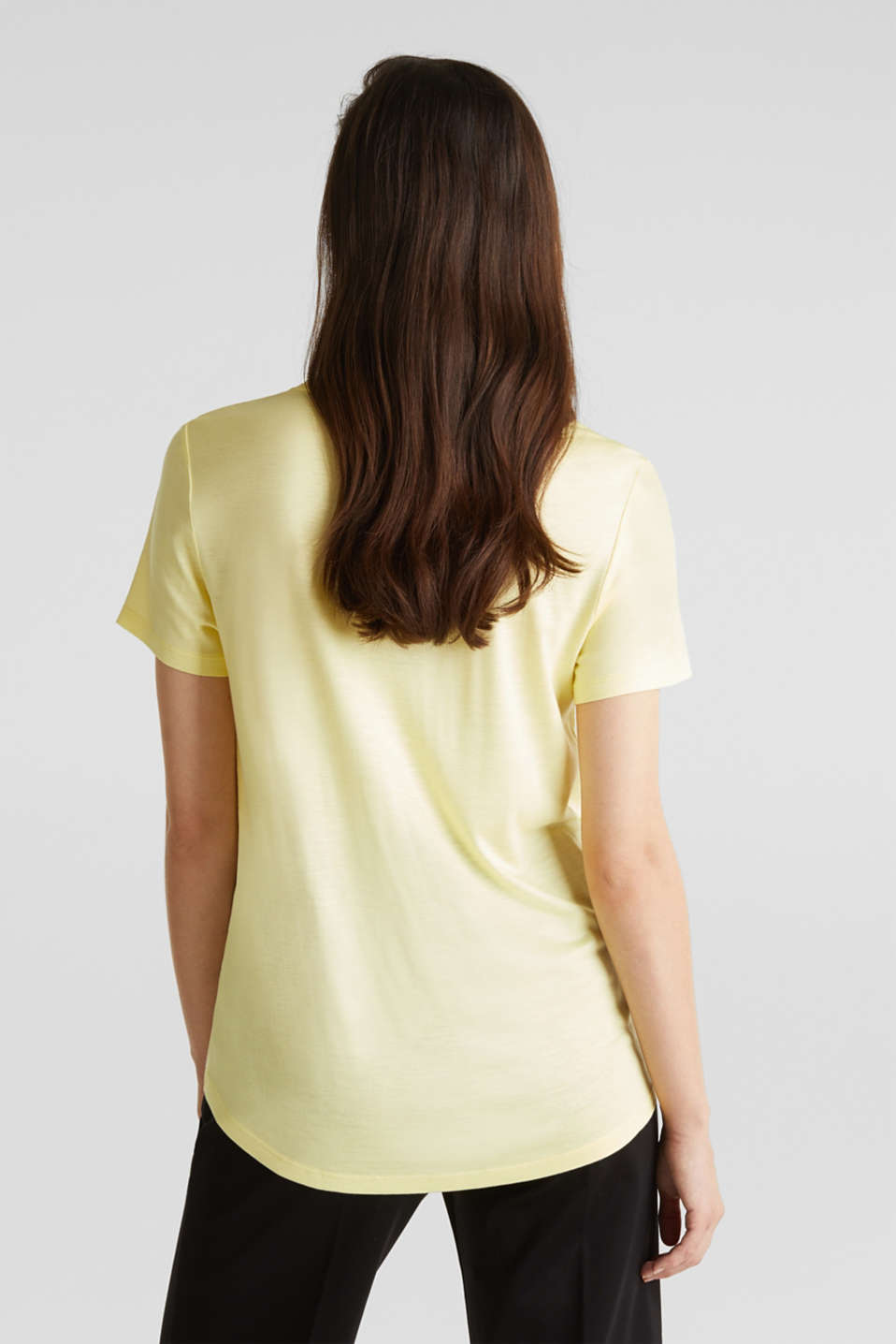 V-neck top with chiffon trims, LIME YELLOW, detail image number 3