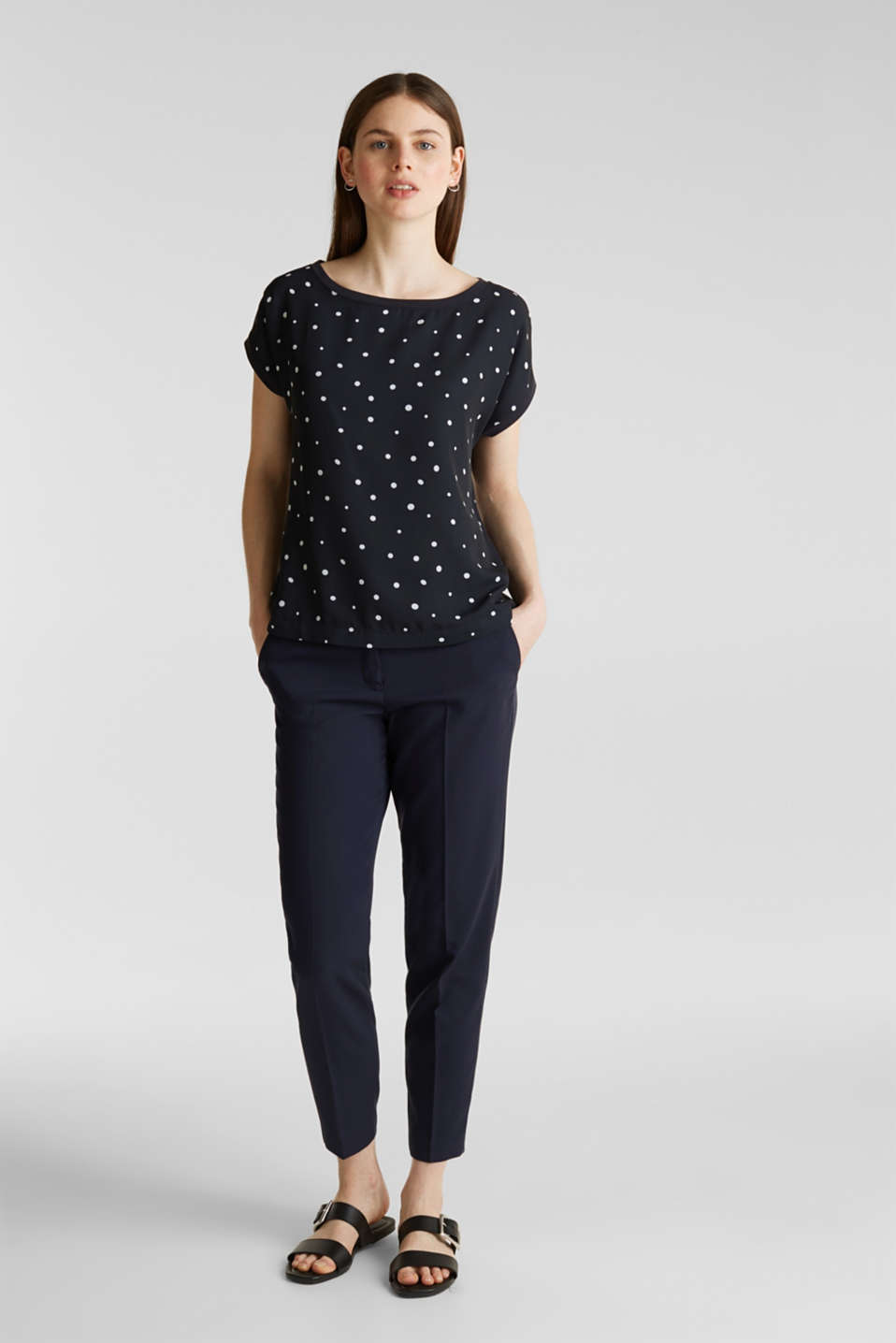 Blouse top in a mix of materials, NAVY, detail image number 1