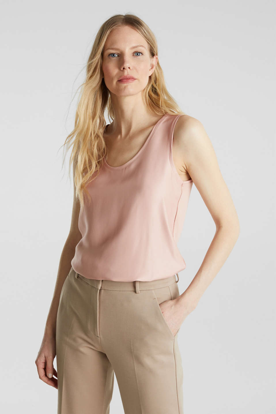 Esprit - Top basic in materiale misto