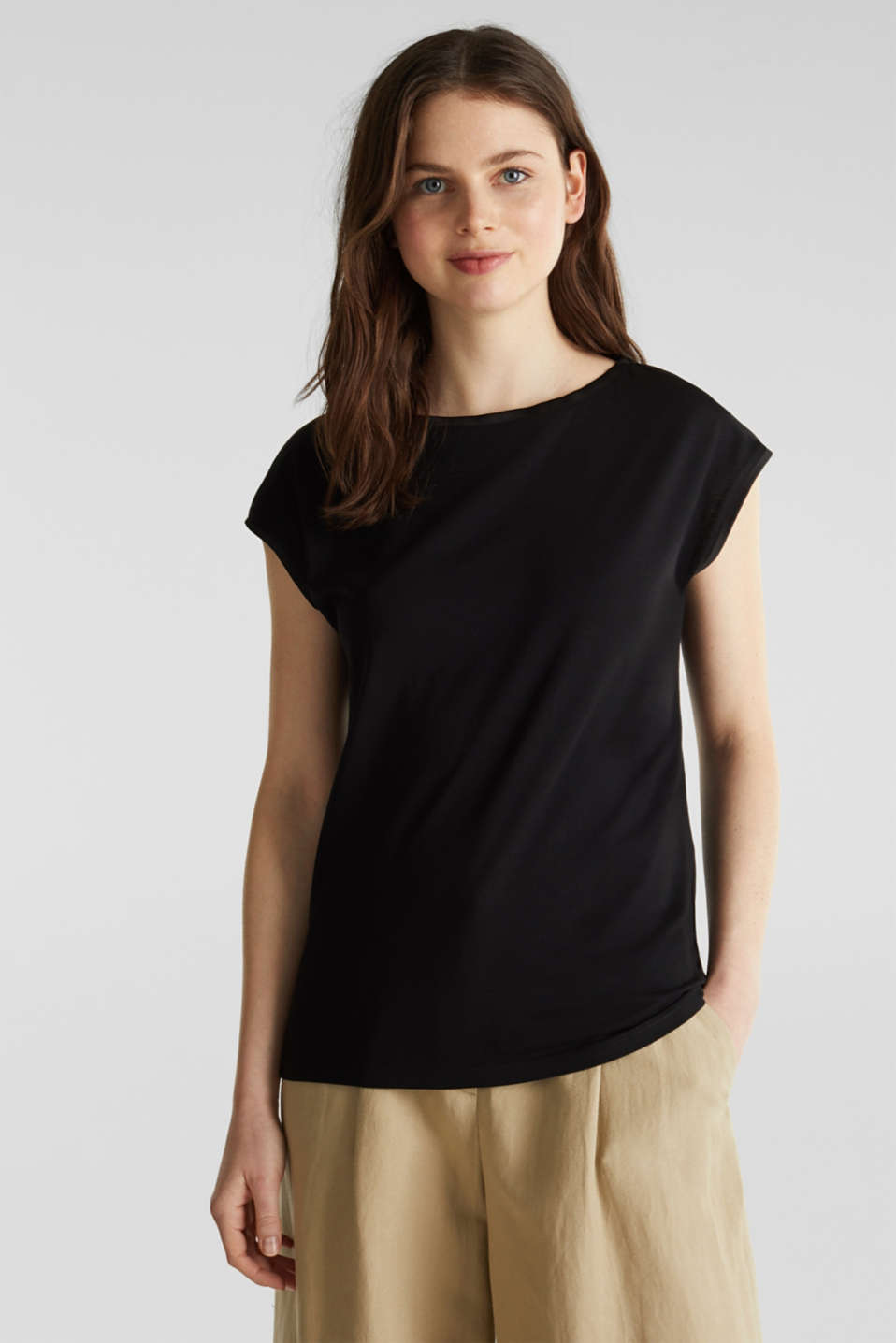 Basic top with satin trim, BLACK, detail image number 0