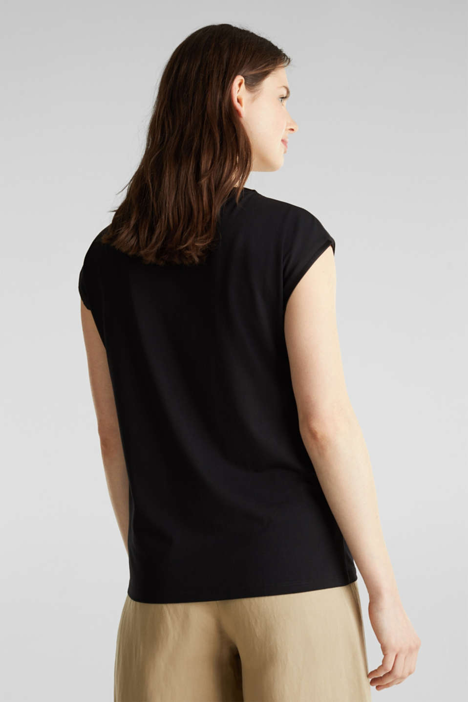 Basic top with satin trim, BLACK, detail image number 3