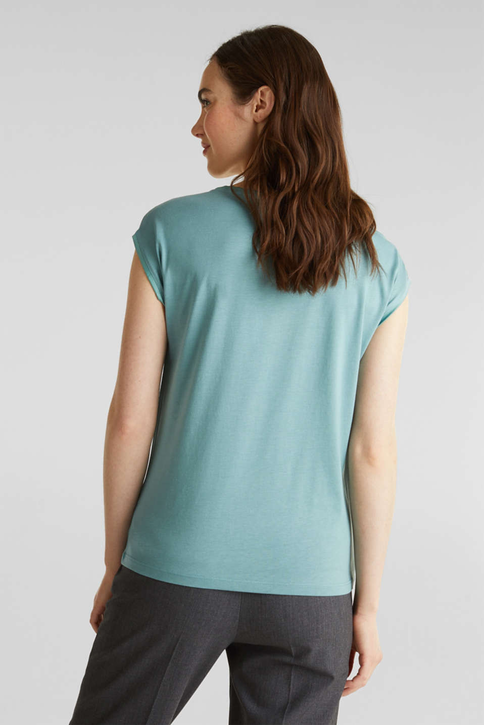 Basic top with satin trim, DUSTY GREEN, detail image number 3