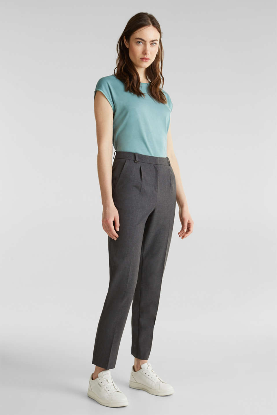 Basic top with satin trim, DUSTY GREEN, detail image number 5