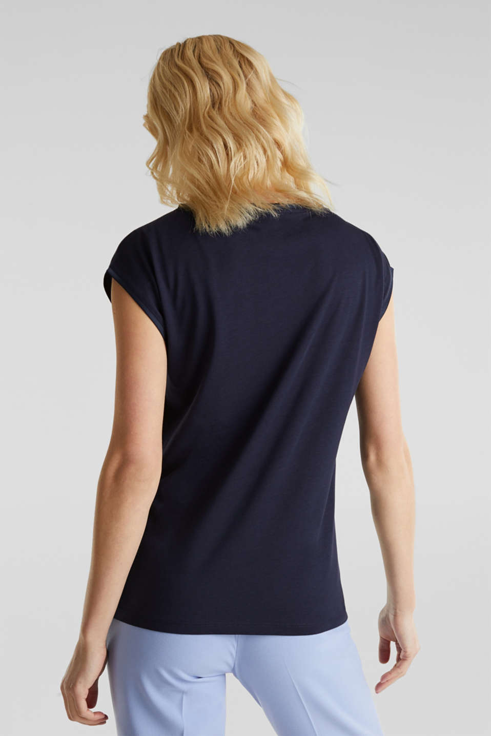 Basic top with satin trim, NAVY, detail image number 3