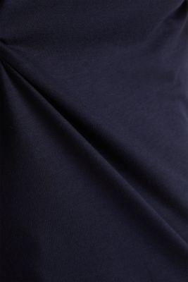 Basic top with satin trim, NAVY, detail
