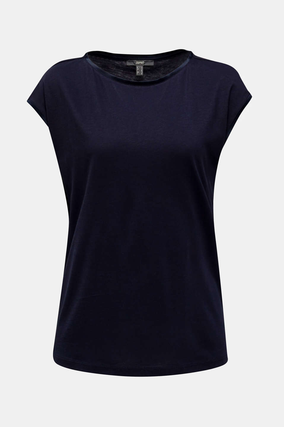 Basic top with satin trim, NAVY, detail image number 5