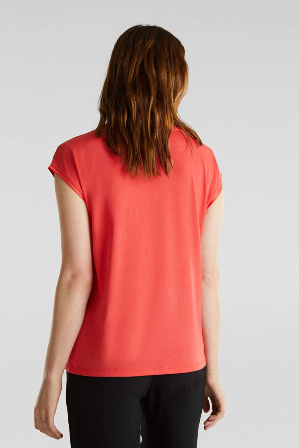 Basic top with satin trim, CORAL RED, detail image number 3