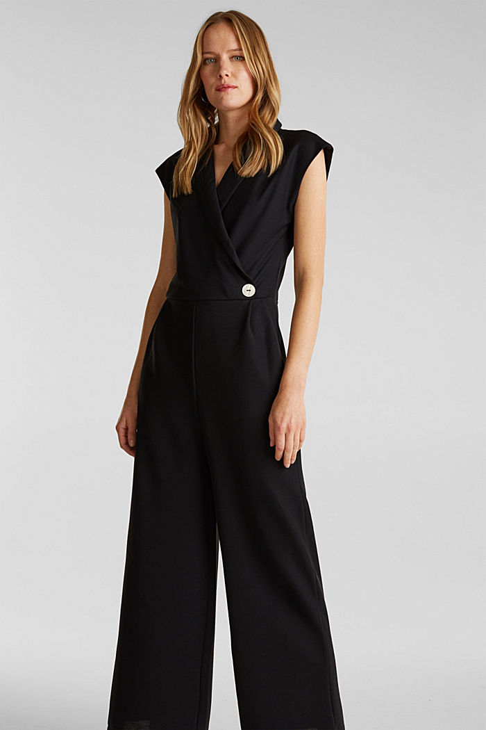 Jersey jumpsuit with a shawl collar, BLACK, detail image number 0