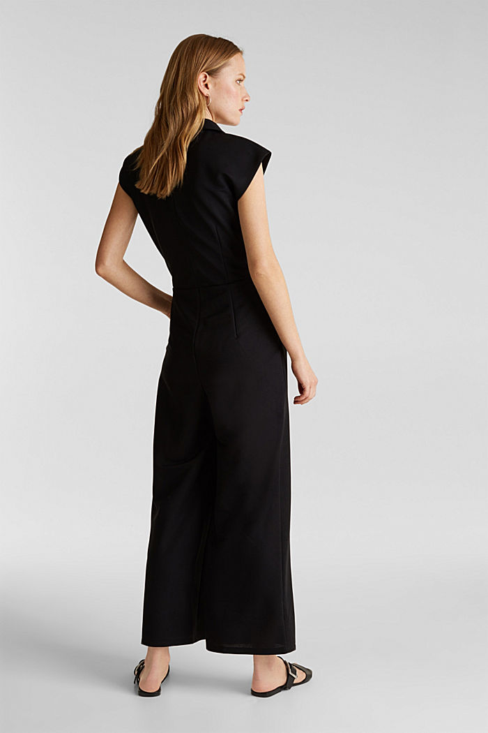 Jersey jumpsuit with a shawl collar, BLACK, detail image number 2