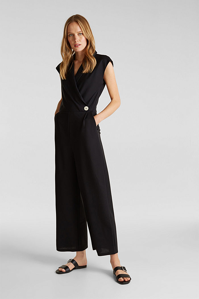 Jersey jumpsuit with a shawl collar, BLACK, detail image number 1