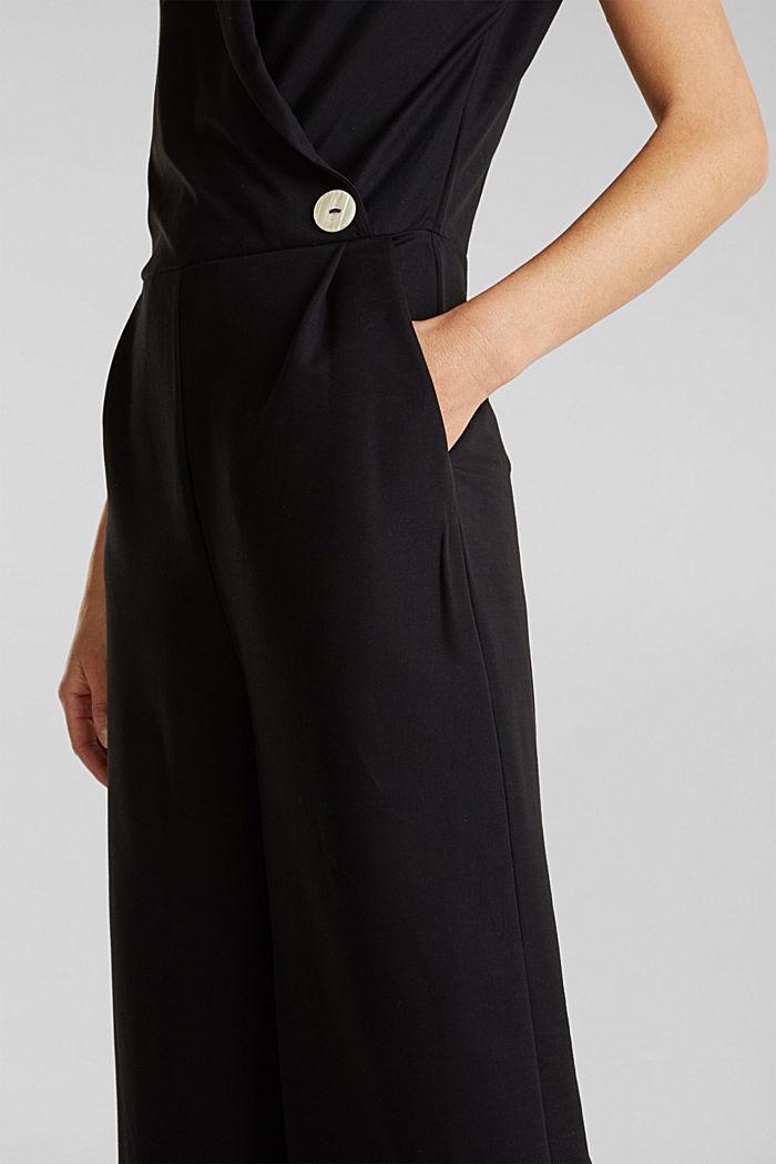 Jersey jumpsuit met sjaalkraag, BLACK, detail image number 3
