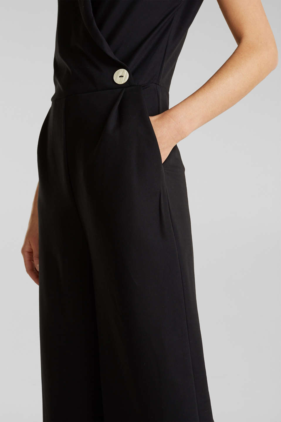 Jersey jumpsuit with a shawl collar, BLACK, detail image number 3