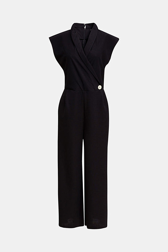 Jersey jumpsuit with a shawl collar, BLACK, detail image number 5