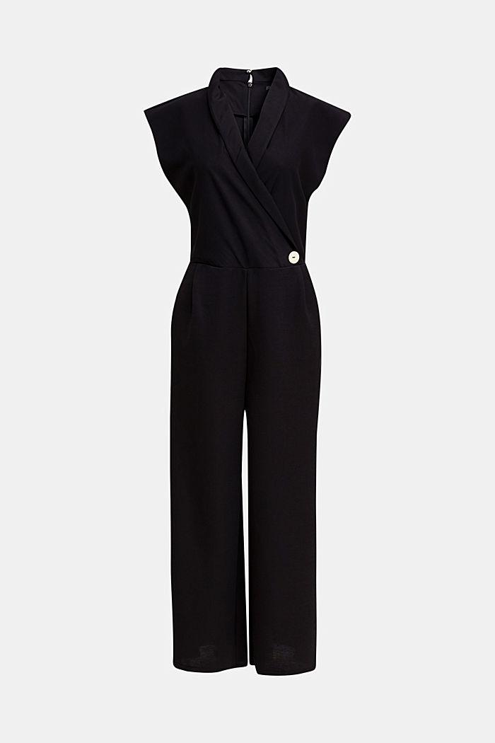 Jersey jumpsuit met sjaalkraag, BLACK, detail image number 5