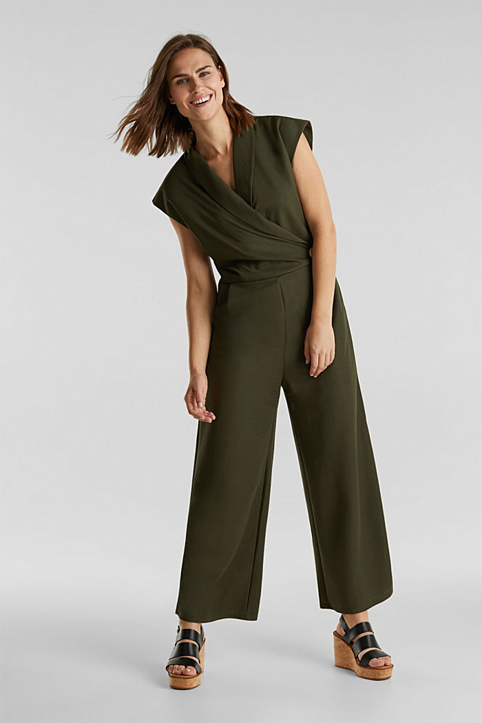 Jersey jumpsuit with a shawl collar, KHAKI GREEN, detail image number 0