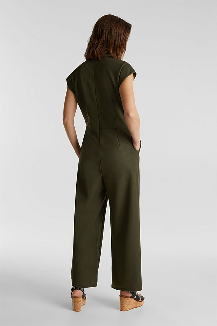 Jersey jumpsuit with a shawl collar, KHAKI GREEN, detail image number 2