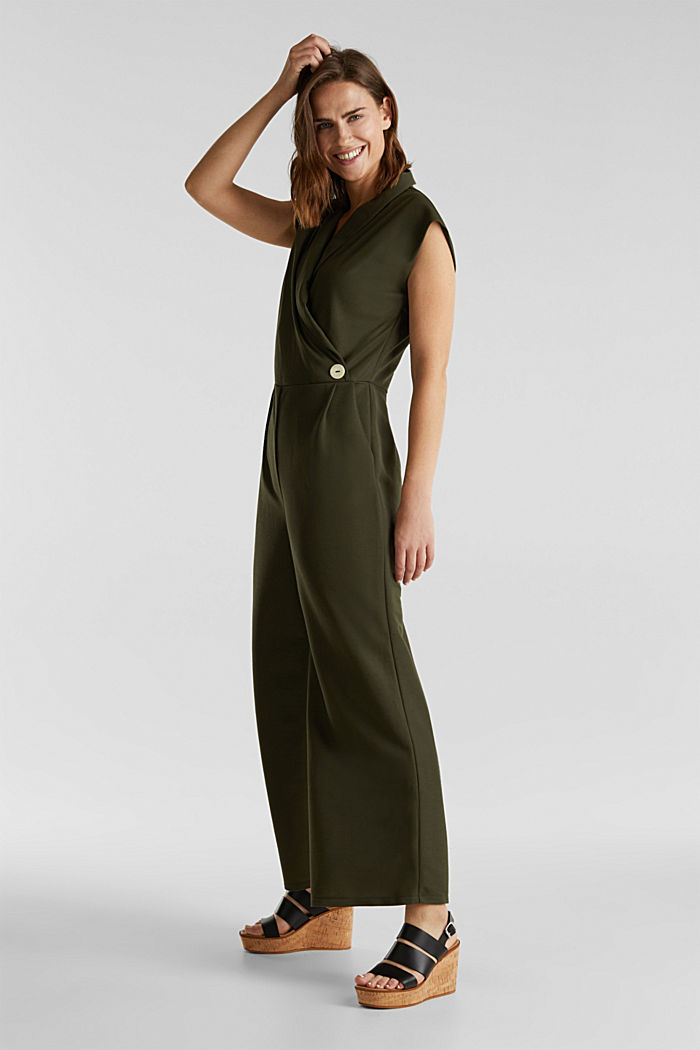 Jersey jumpsuit with a shawl collar, KHAKI GREEN, detail image number 1