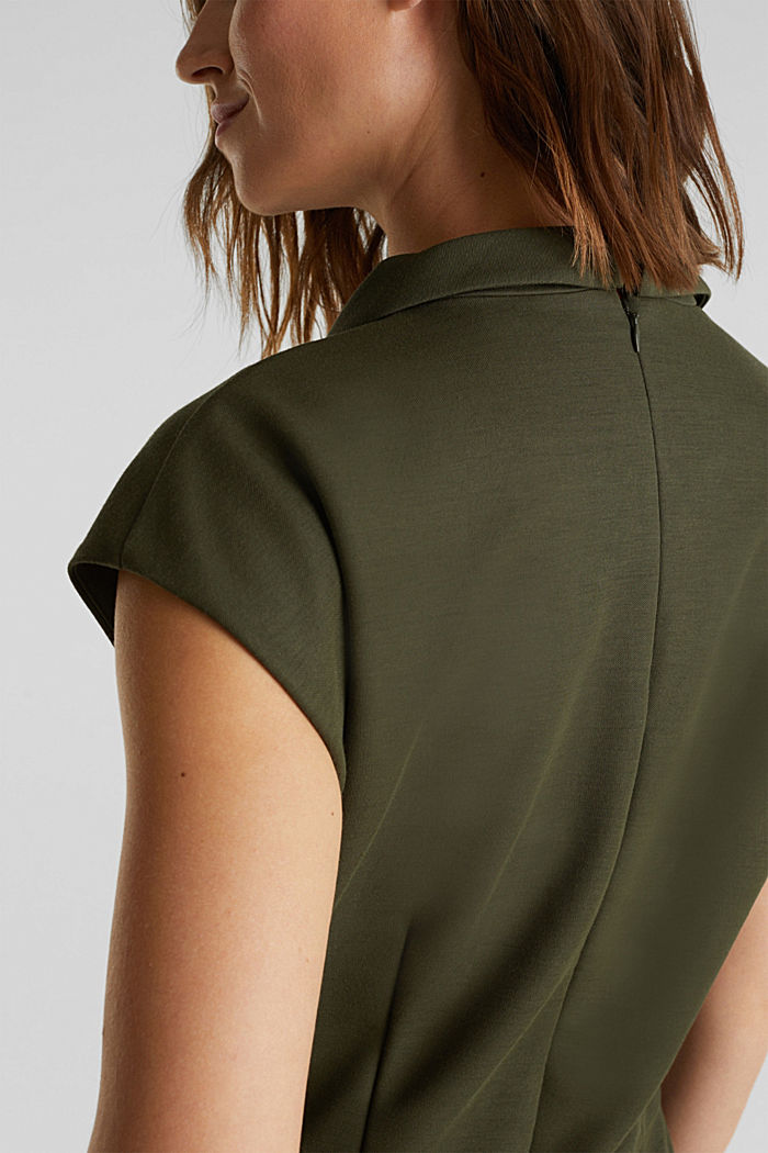 Jersey jumpsuit with a shawl collar, KHAKI GREEN, detail image number 3