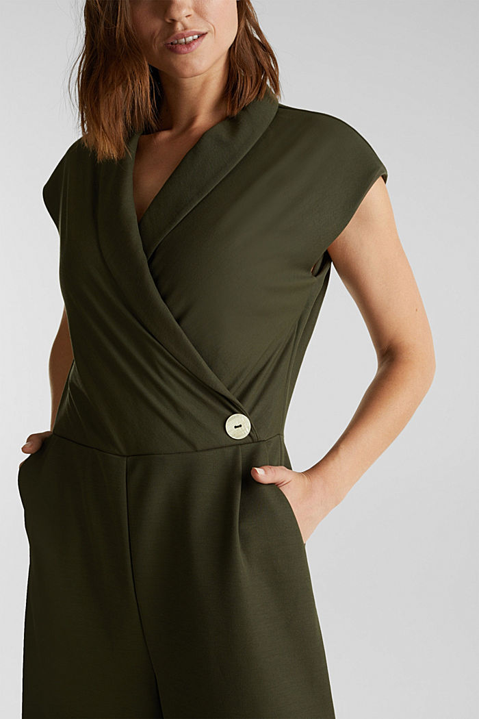 Jersey jumpsuit with a shawl collar, KHAKI GREEN, detail image number 5