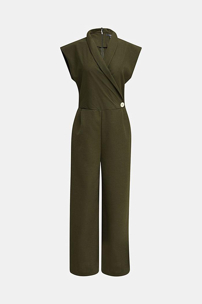 Jersey jumpsuit with a shawl collar, KHAKI GREEN, detail image number 6