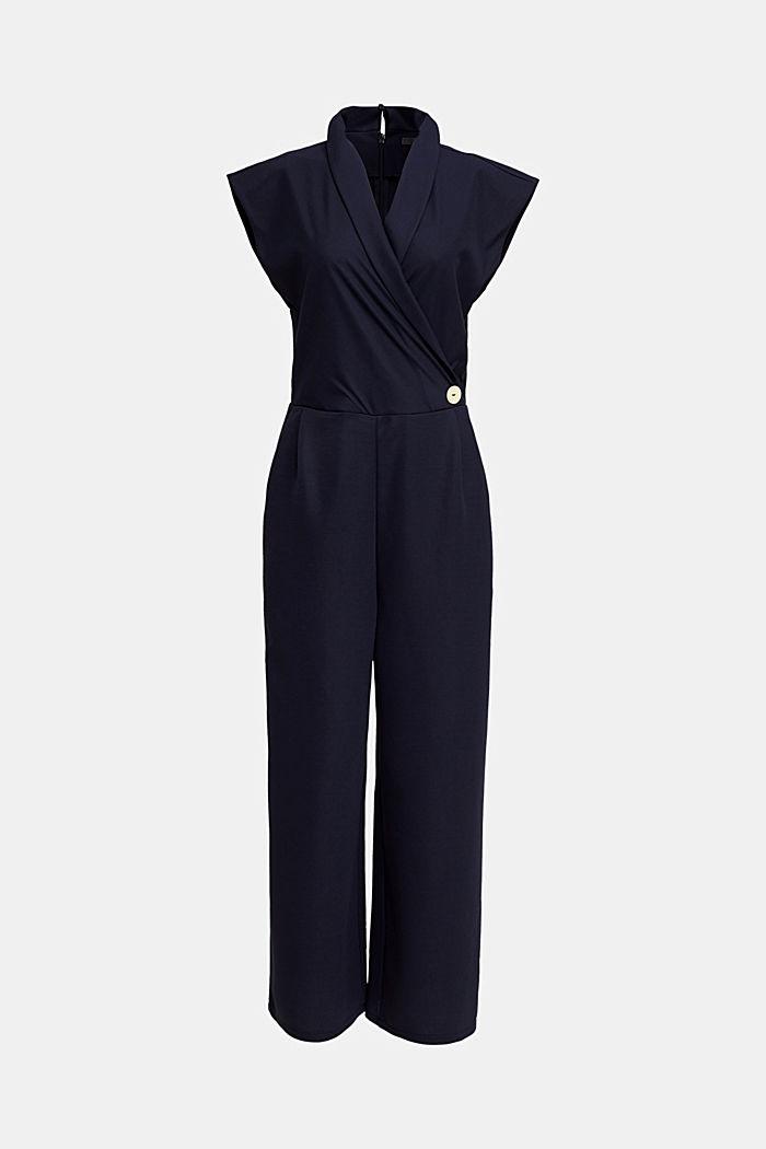 Jersey-Jumpsuit mit Schalkragen, NAVY, detail image number 6