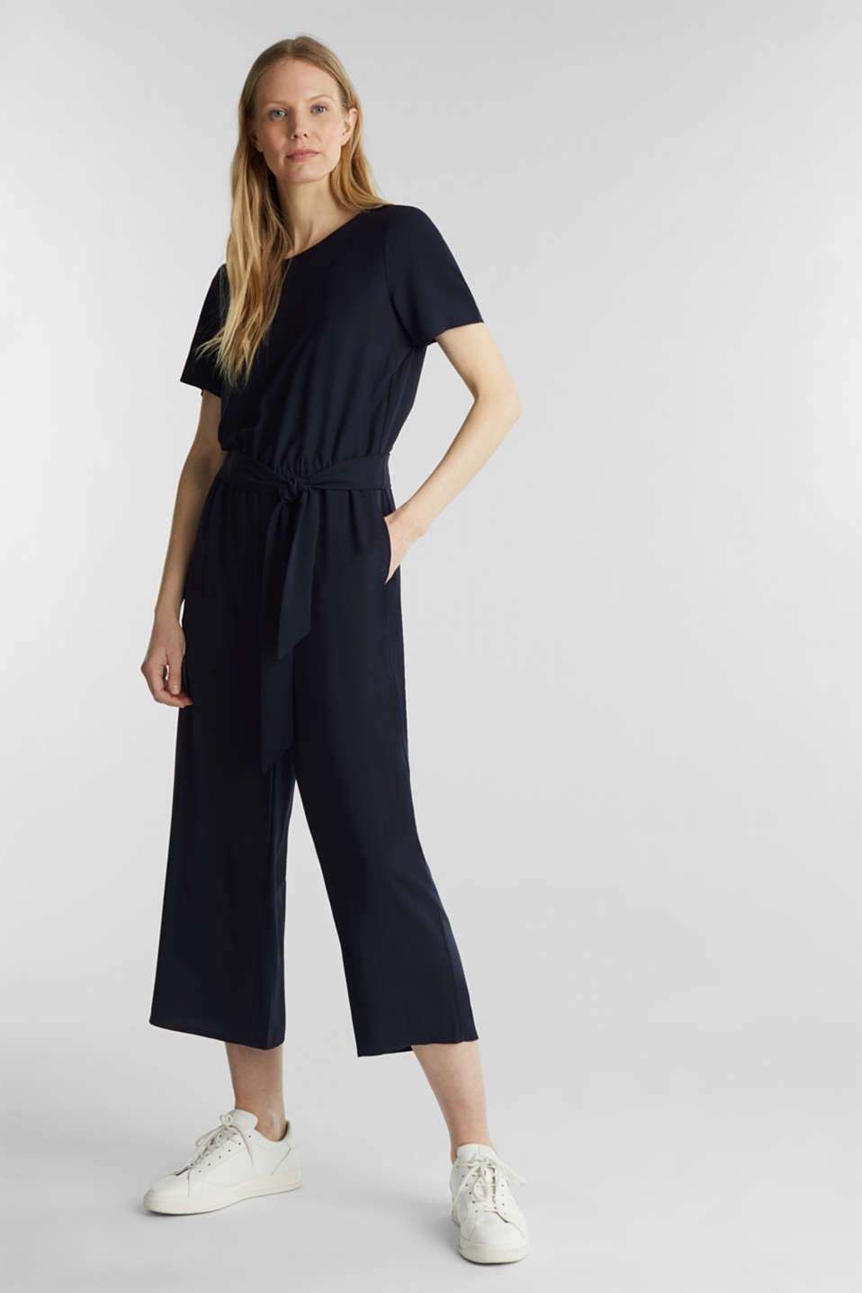 Crêpe jumpsuit with culottes, NAVY, detail image number 0