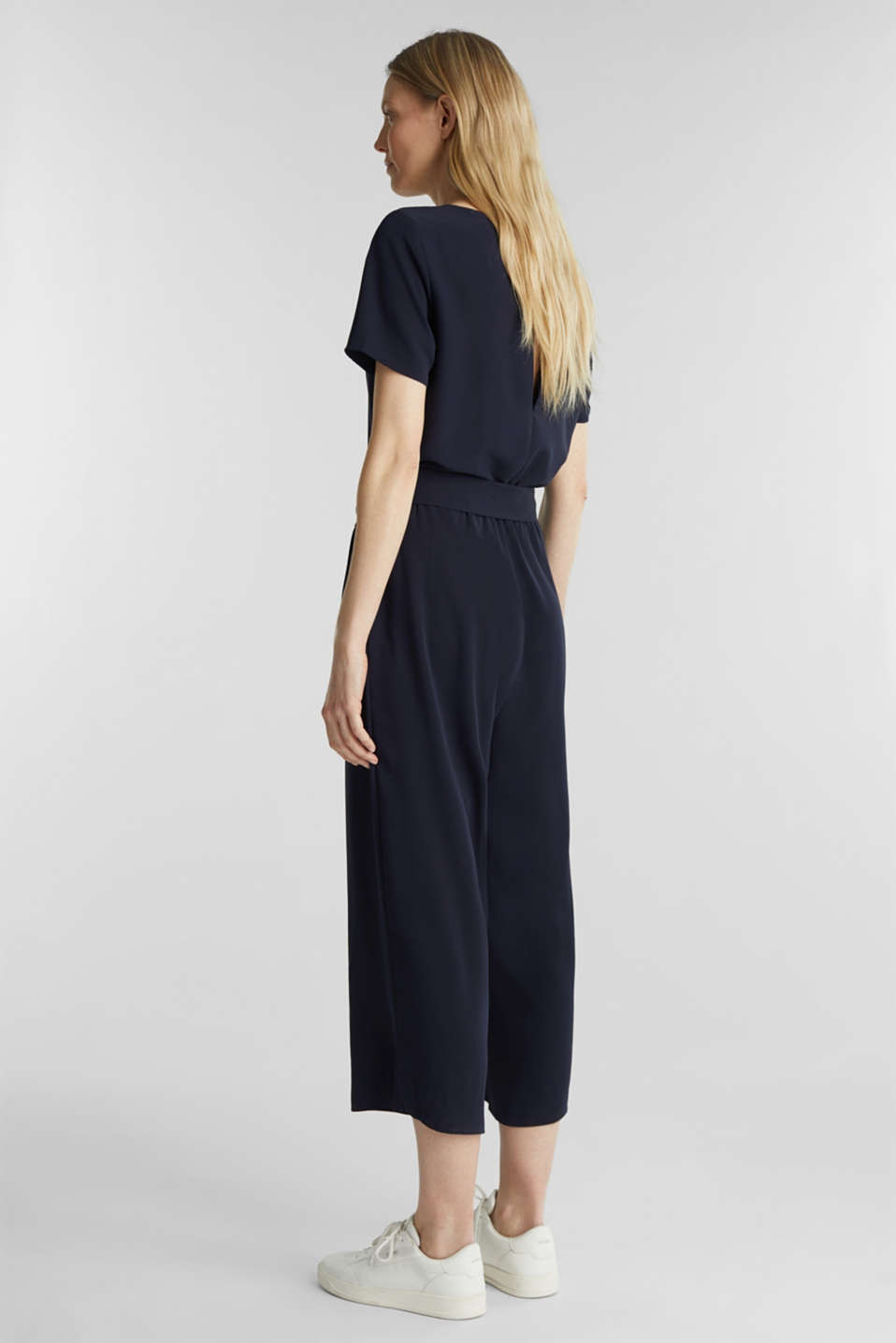 Crêpe jumpsuit with culottes, NAVY, detail image number 3