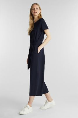 Crêpe jumpsuit with culottes, NAVY, detail