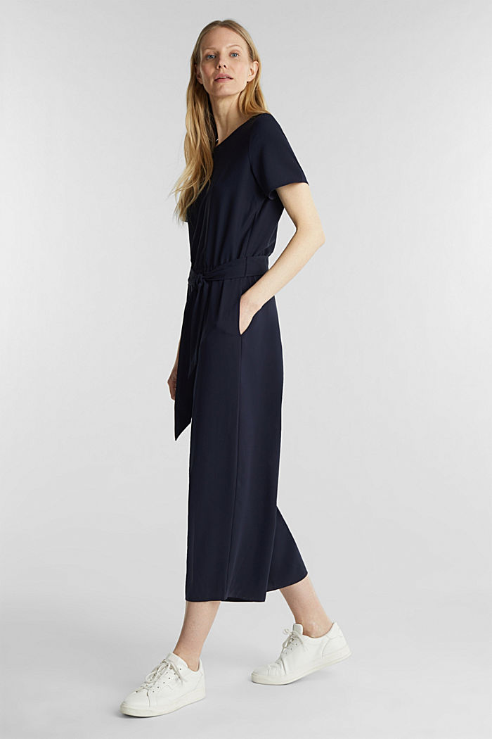 Crêpe jumpsuit with culottes, NAVY, detail image number 1