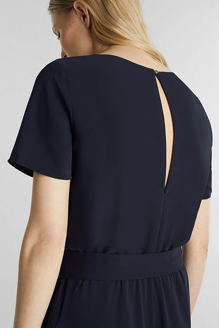 Crêpe jumpsuit with culottes, NAVY, detail image number 2