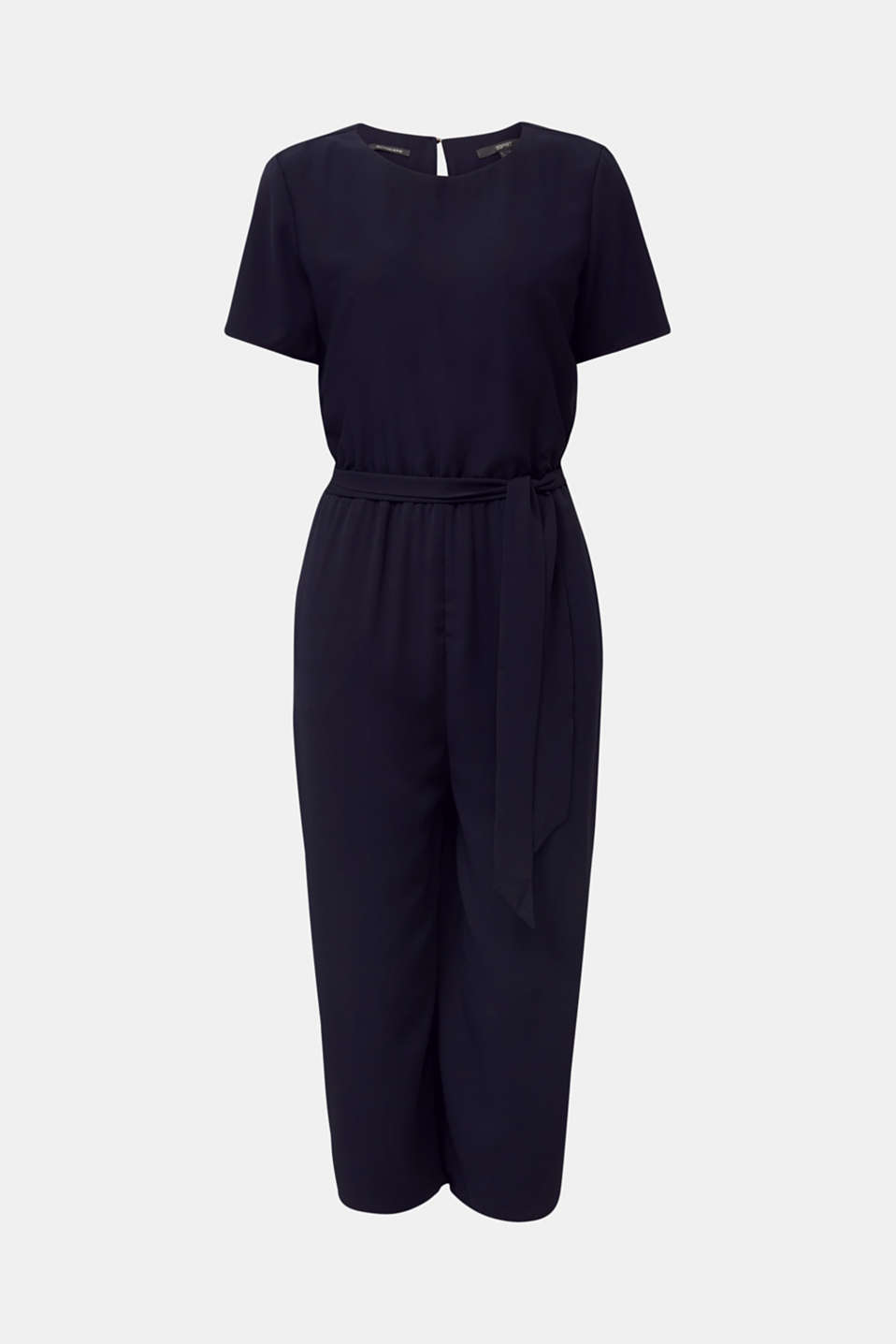 Crêpe jumpsuit with culottes, NAVY, detail image number 6