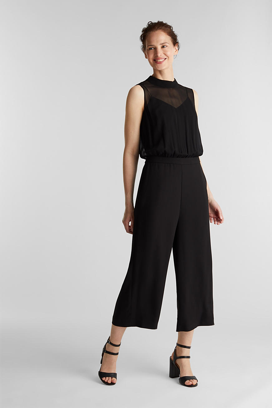 Crêpe and chiffon jumpsuit