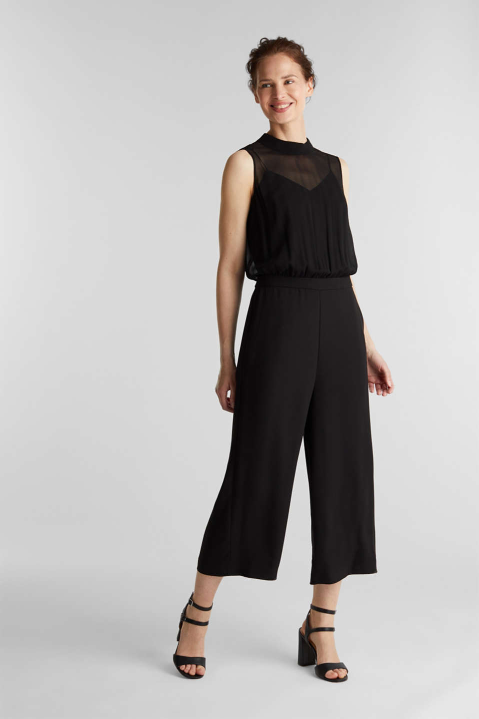 Crêpe and chiffon jumpsuit, BLACK, detail image number 0