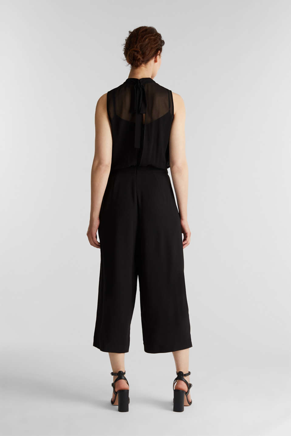 Crêpe and chiffon jumpsuit, BLACK, detail image number 3