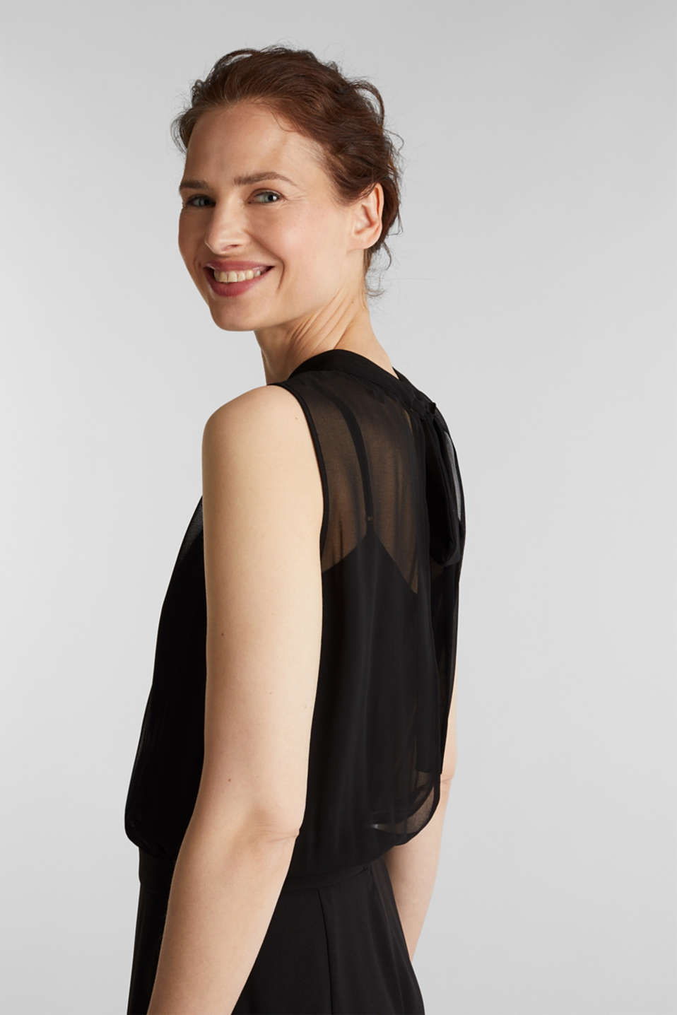 Crêpe and chiffon jumpsuit, BLACK, detail image number 5
