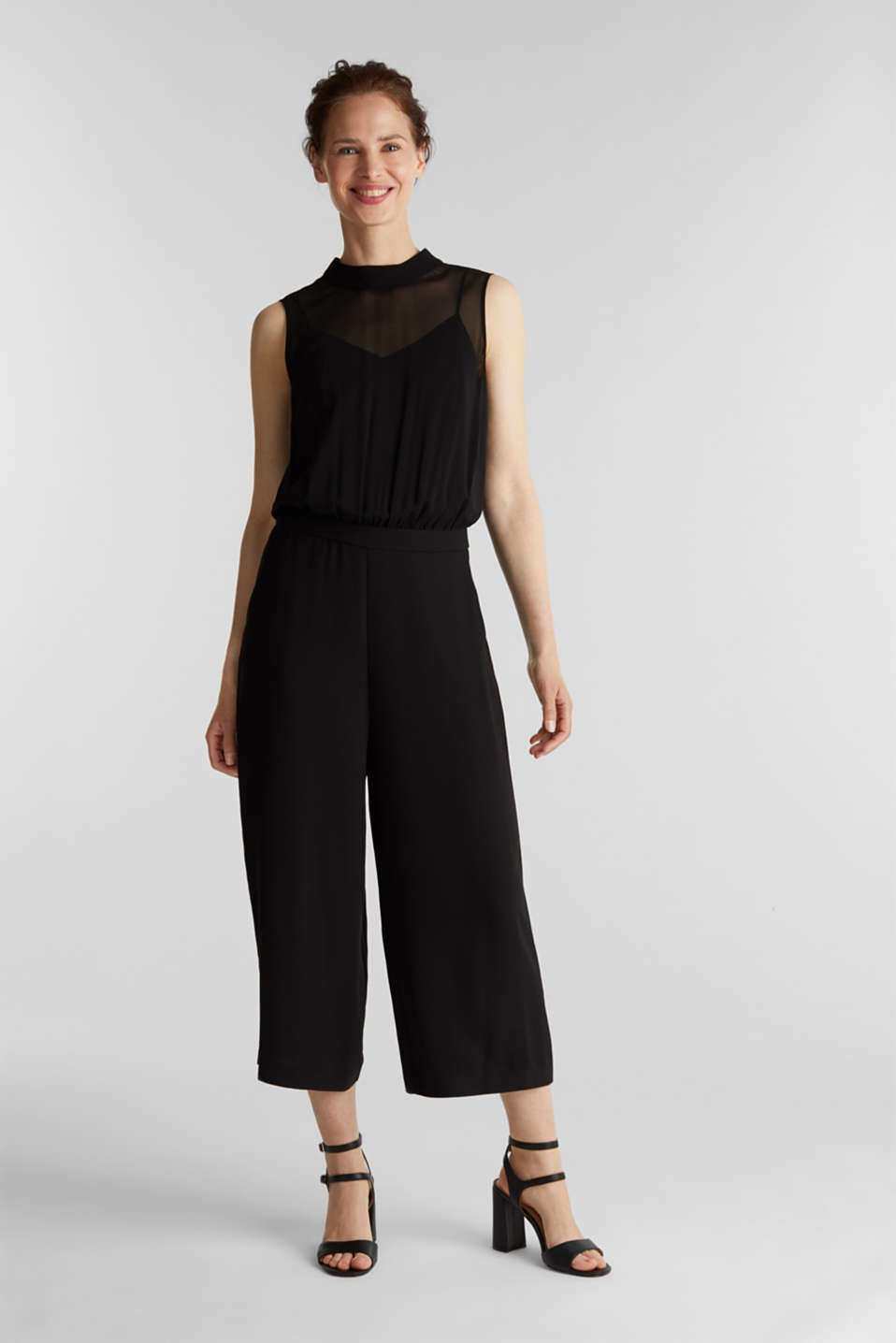 Crêpe and chiffon jumpsuit, BLACK, detail image number 1