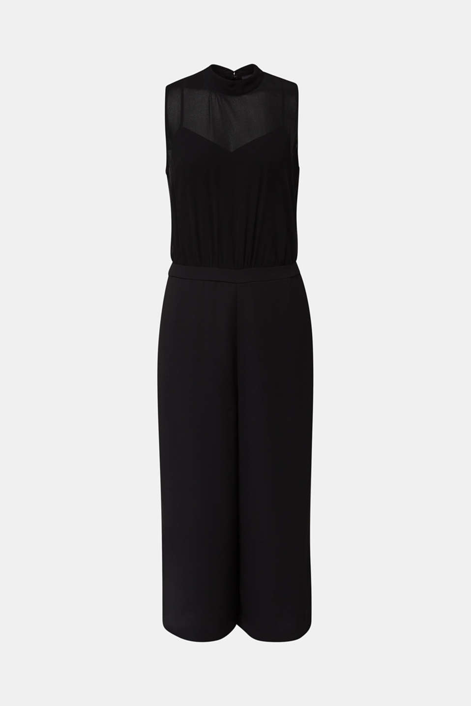 Crêpe and chiffon jumpsuit, BLACK, detail image number 6