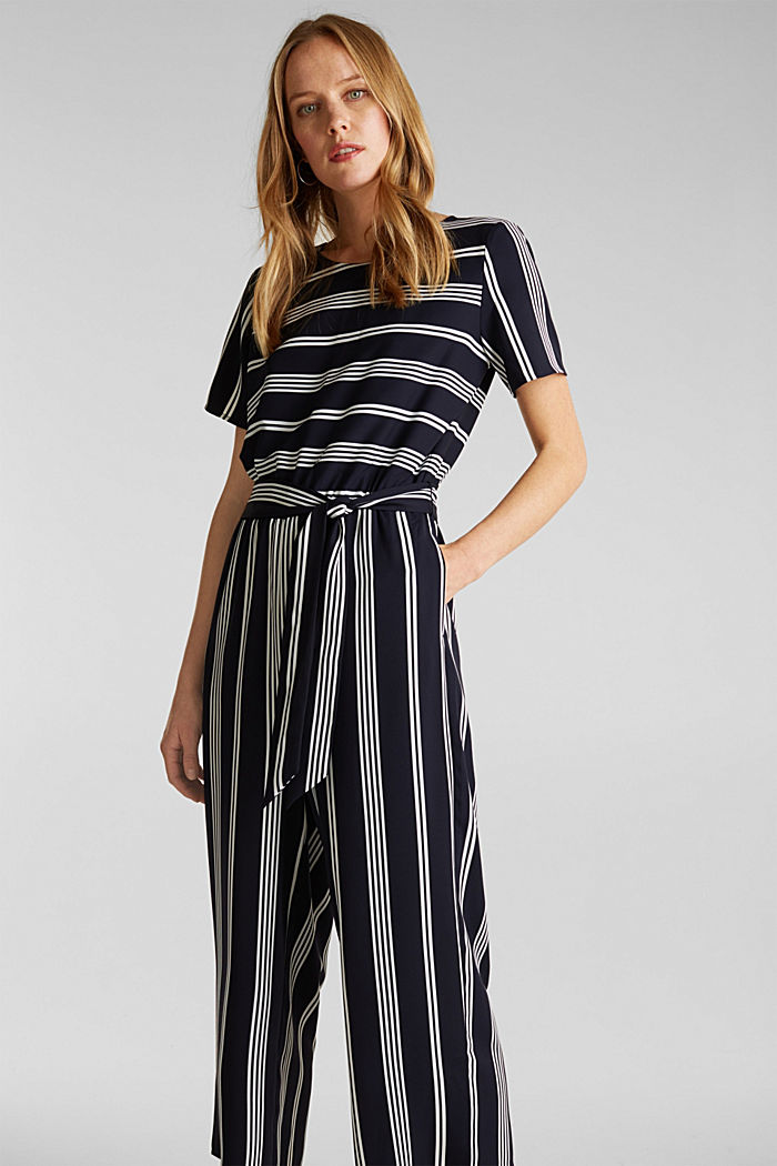 Recycelt: Jumpsuit mit Culotte, NAVY, detail image number 0