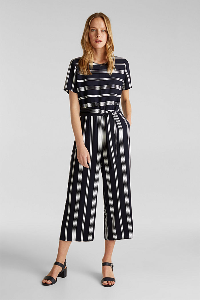 Recycelt: Jumpsuit mit Culotte, NAVY, detail image number 1