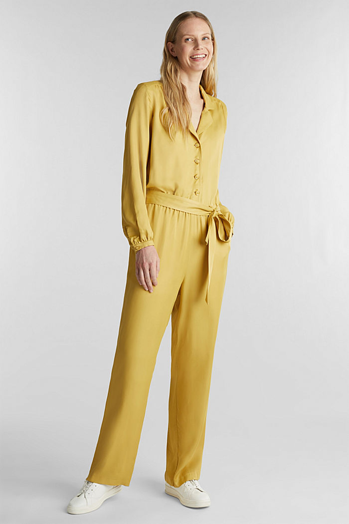 Satin jumpsuit with a lapel collar, DUSTY YELLOW, detail image number 0